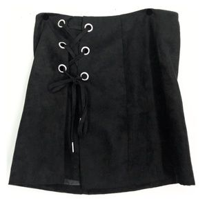 H&M black suede lace up skirt